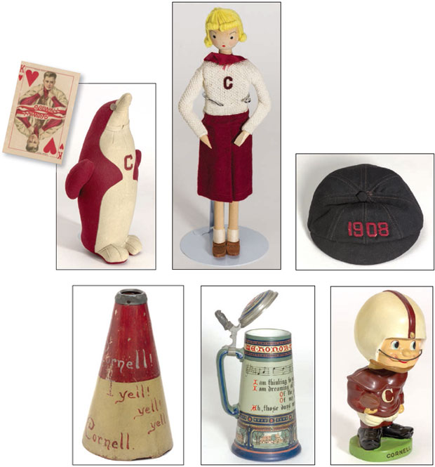 Seven photo collage of vintage Cornelliana on display in Kroch: (clockwise from left) a stuffed penguin, playing card, 'Kitty Co-ed' doll, freshman beanie, football bobblehead, beer stein and megaphone.