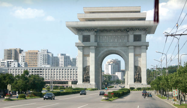 Triumphal arch: An example of the monumental architecture found throughout Pyongyang