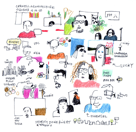 Numerous hand drawn sketches of people and situations.