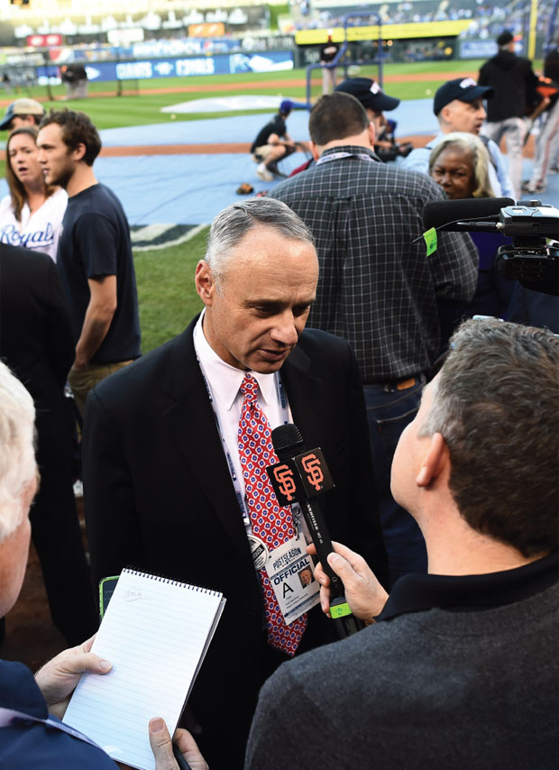 Field notes: Manfred speaks to the press during batting practice before Game 2 of the 2014 World Series between the Kansas City Royals and the San Francisco Giants.