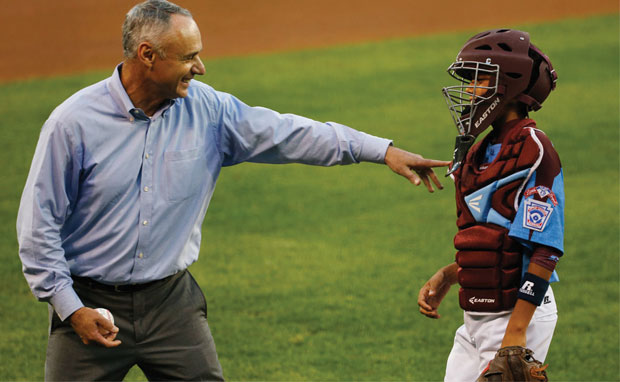 Play Ball!: Shortly after being elected commissioner, Manfred threw out the first pitch at the Little League Baseball World Series.