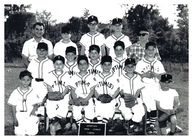 Field of Dreams: Manfred with his childhood Little League team in Upstate New York; he's seated in the front row at the right edge of the bench, with a 'T' on his cap.