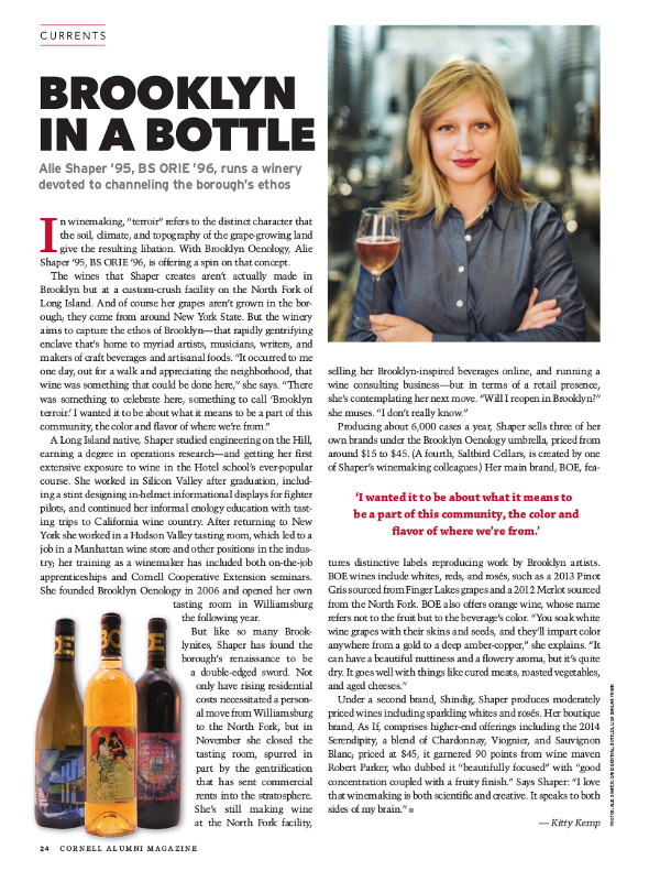 Magazine page of brooklyn in a bottle