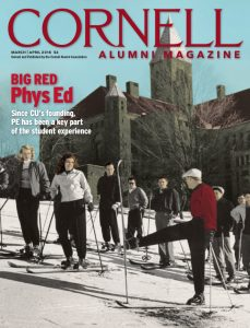 Magazine cover for March/April showing a 1950s colorized skiing class.