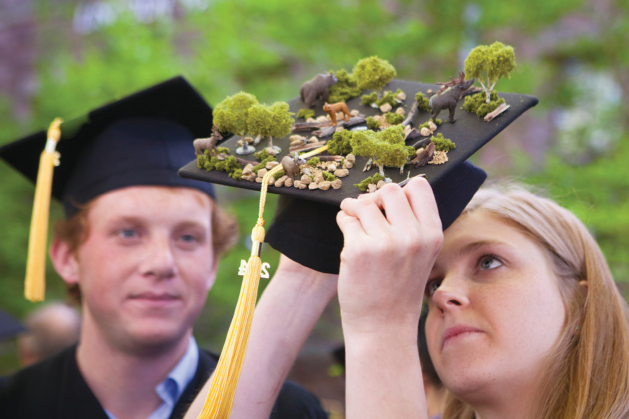 A student holds a mortarboard decorated with trees, stones and animals.