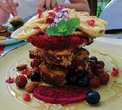 French toast loaded with dragonfruit.