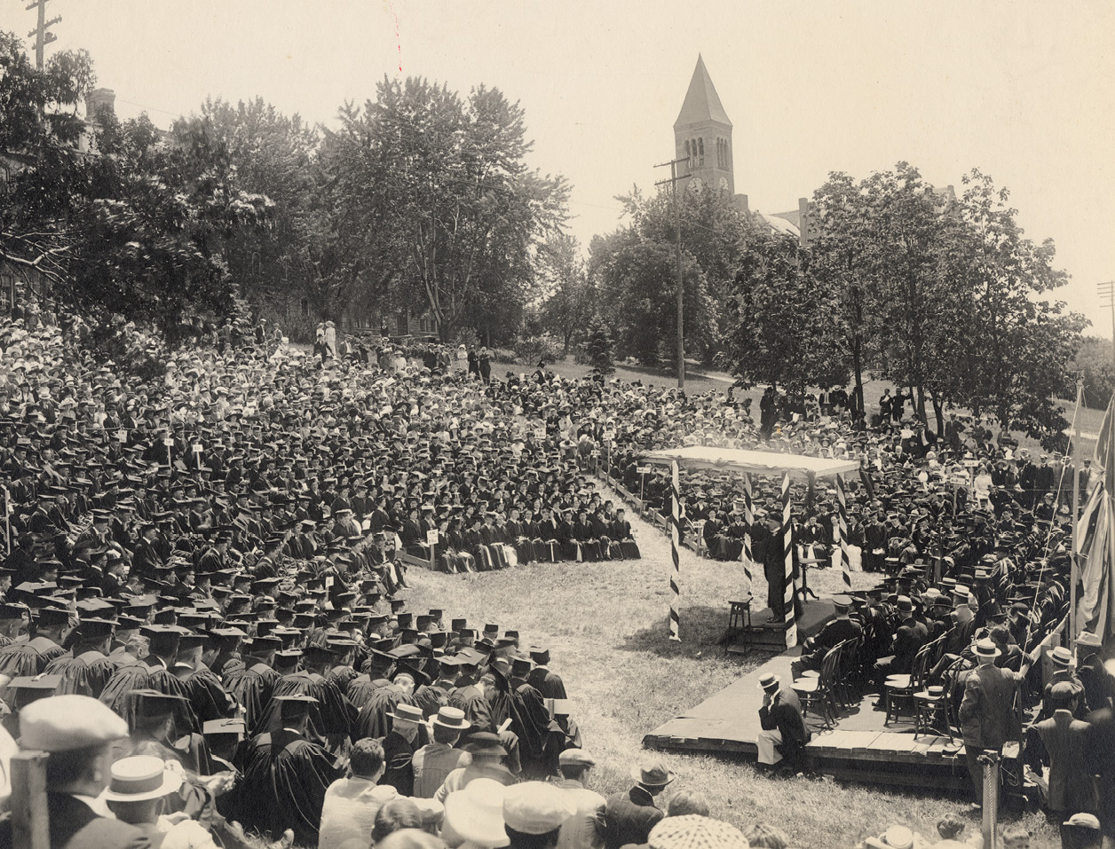 Libe Slope packed with students, listening to a graduation speaker in the early 20th century