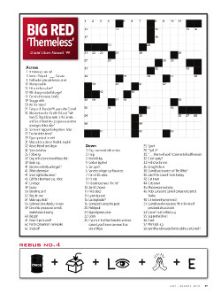 Magazine page image for themeless crossword puzzle