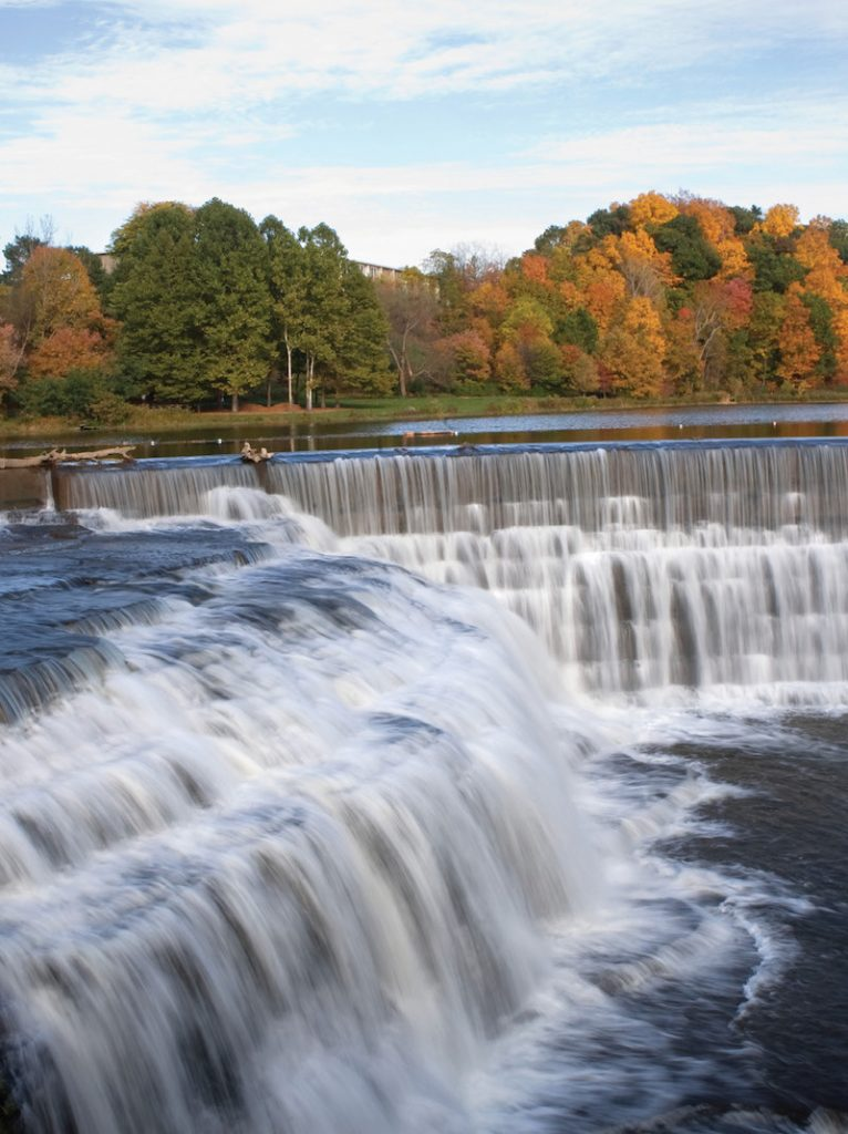 Water streams over the Beebe lake dam