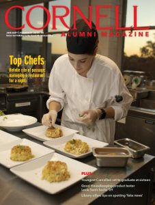 January/February 2020 magazine cover featuring a chef plating mac & cheese