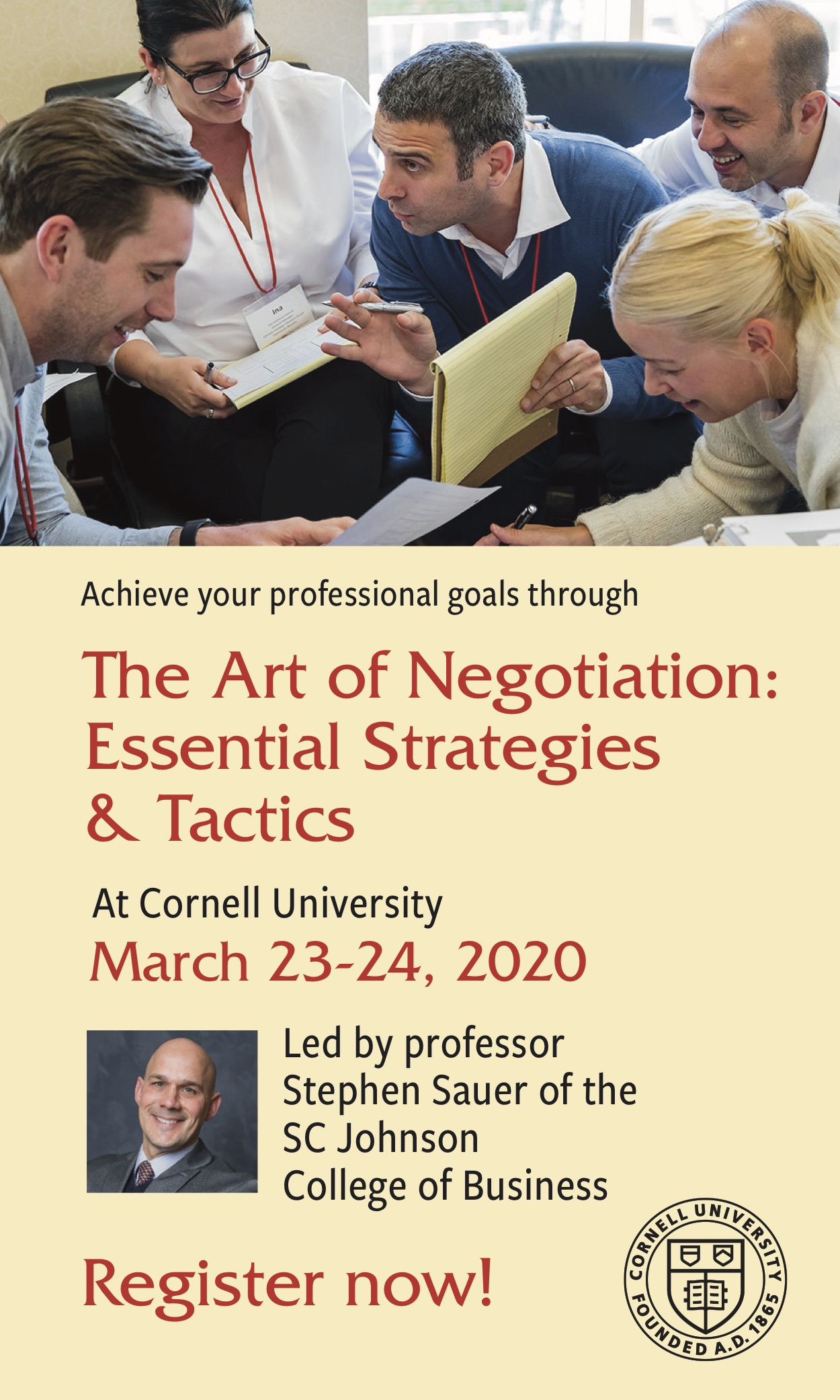 The Art of Negotiation weekend seminar ad
