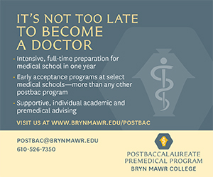 Bryn Mawr Predmedical program ad